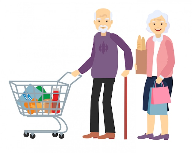 Couple old senior man, woman at the store with purchases. grey haired elderly people together.