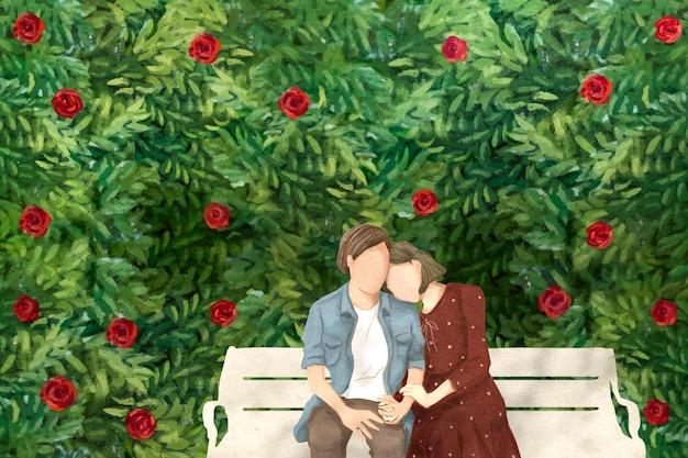 庭でデートのカップルバレンタインのテーマ手描きイラスト