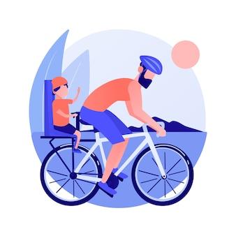 自転車でカップル。健康的なライフスタイルとフィットネス。道路のライダー、丘のサイクリスト、自転車レース。家族旅行。車両と輸送。ベクトル分離された概念の比喩の図。