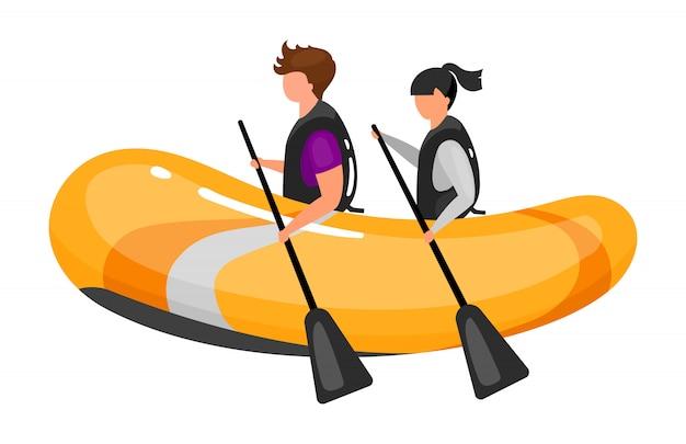 Пара на лодке плоской иллюстрации. опыт экстремальных видов спорта. активный образ жизни. водные развлечения на свежем воздухе. командная работа гребля. спортивные люди изолировали мультипликационный персонаж на белом фоне