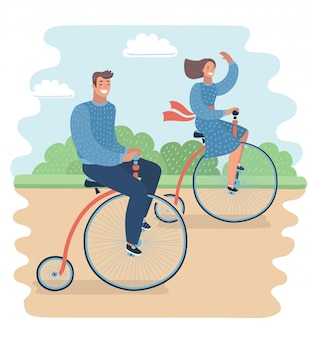분필 드로잉 배경에 커플. 빈티지 페니 파 딩 자전거에 그의 여자 친구를 타고 남자.