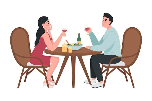 ロマンチックな日付のカップルセミフラットカラーベクトル文字。座っている人物。白の全身の人々。ホームパーティーは、グラフィックデザインとアニメーションのモダンな漫画スタイルのイラストを分離しました