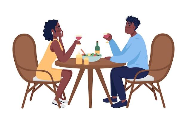 ロマンチックなディナーセミフラットカラーベクトル文字のカップル。座っている人物。白の全身の人々。ホームパーティーは、グラフィックデザインとアニメーションのモダンな漫画スタイルのイラストを分離しました