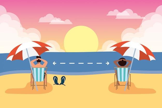 사회적 거리 장면, 여름 시간 휴가 연습 해변에서 커플