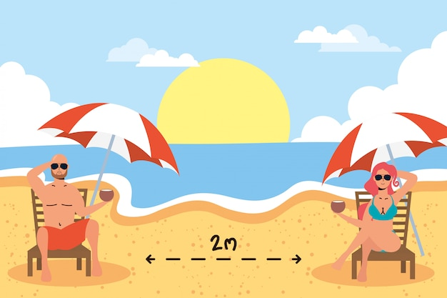 社会的距離のシーン、夏の休暇を練習してビーチでカップルします。