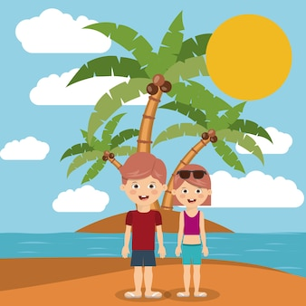 Couple on vacation in beach isolated icon design
