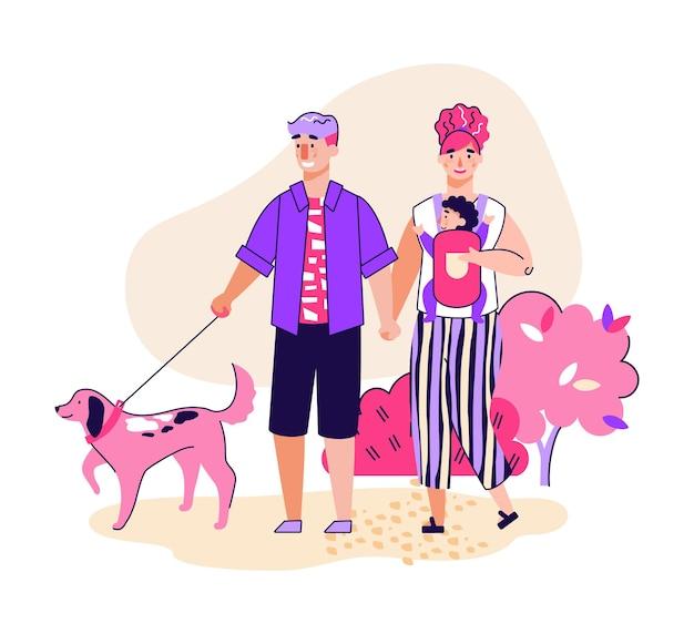 公園の漫画で犬のペットと散歩中のカップル