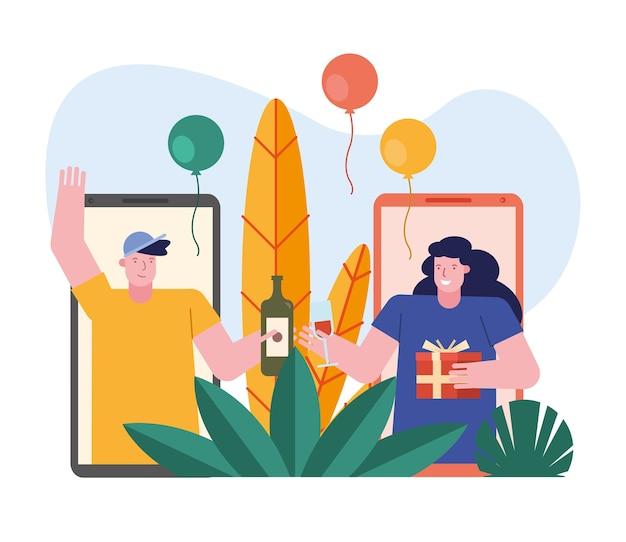 Пара открытия подарков в смартфонах персонажей сцены дизайн векторной иллюстрации