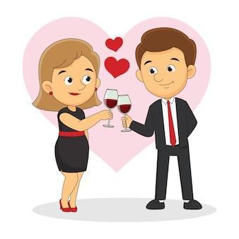 Пара или празднование праздника с бокалом вина, день святого валентина
