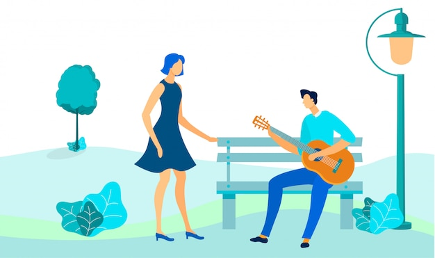 Couple on outdoor date flat vector illustration