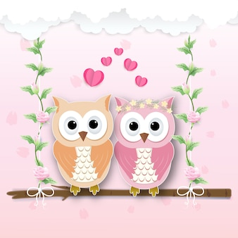 Couple owl and heart and roses ivy