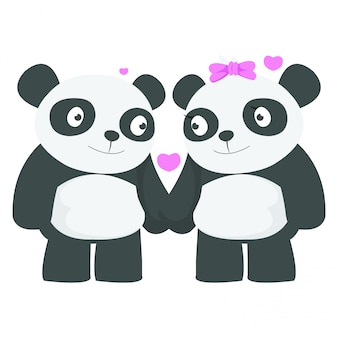 Couple of panda dating in valentine day