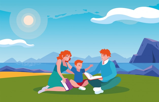 Couple of parents and son with background landscape