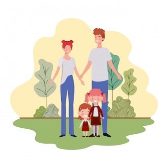 Couple of parents with children in landscape