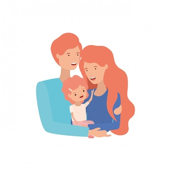 Couple of parents with daughter avatar charactar