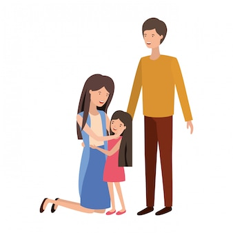 Couple of parents with daughter avatar character