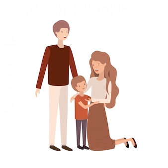 Couple of parents with son avatar character