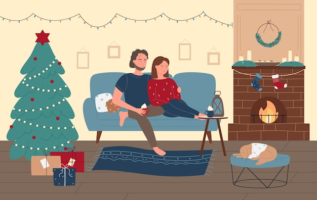 Couple people celebrate christmas holiday season at home