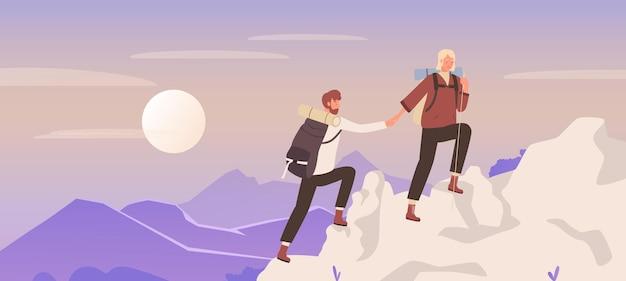 Пара людей поднимается на гору, природа, путешествие, приключение с молодой женщиной, мужчиной, альпинистом, туристами Premium векторы