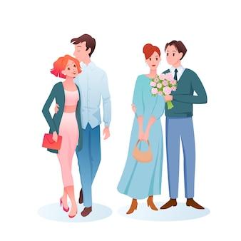 부부는 낭만적 인 데이트에 사랑에 껴안습니다.