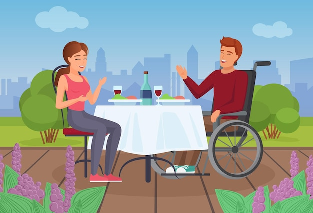 Couple people eat on terrace in summer disabled man in wheelchair dining with girl