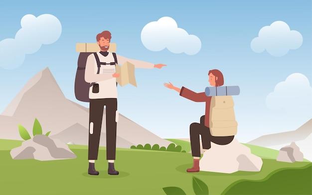 몇 사람이 하이킹과 여행 젊은 여자 남자 등산객 휴식과 아름다운 풍경을 즐길 수