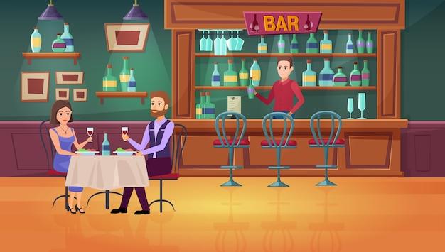 Пара людей в интерьере ресторана