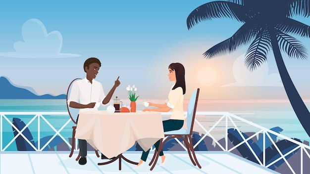 Couple people on love romance dating in outdoor cafe sitting on tropical beach terrace