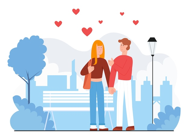 Couple people lovers walking outdoor together, city life concept