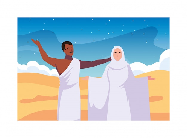 Couple of people pilgrims hajj , day of dhul hijjah