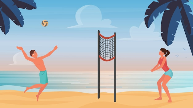 Couple people play beach volleyball  illustration.