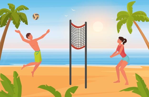 Пара людей играет в пляжный волейбол, молодые мужчины, женщины, игроки, играющие с мячом вместе