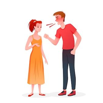 부부는 싸움. 분노, 불행한 결혼 문제 갈등, 나쁜 다툼 관계 파트너십에 화가 난 아내를 울고 비명을 지르는 만화 화가 남편