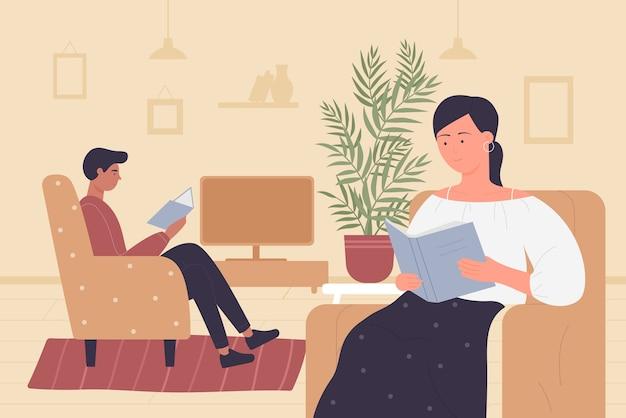 Пара людей, читающих книги дома интерьер гостиной