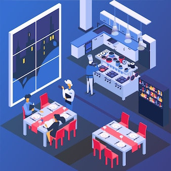 Couple people in restaurant at table, romantic dinner  illustration. man woman character drink and eat food, isometric love