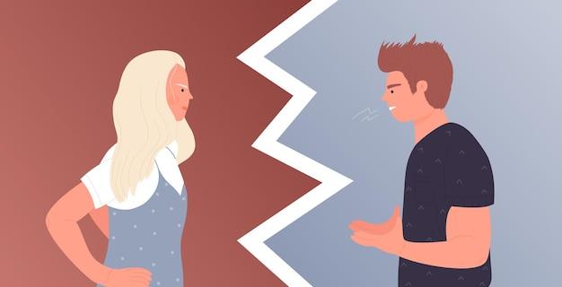 カップルの人々は怒りで話します家庭内暴力怒っている夫は反対の妻に叫んでいます