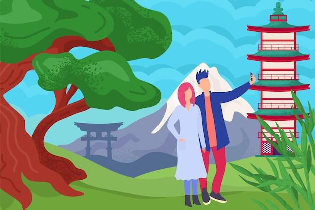 カップルの人々は、中国の観光でアジアの自然ベクトルイラストフラット男性女性キャラクターで旅行します...