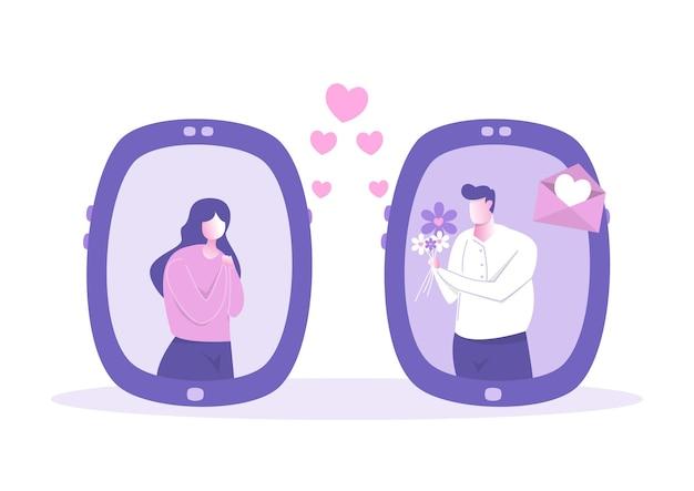 Пара людей, использующих смартфон приложения для любящих сообщений. романтический онлайн любовный чат день святого валентина