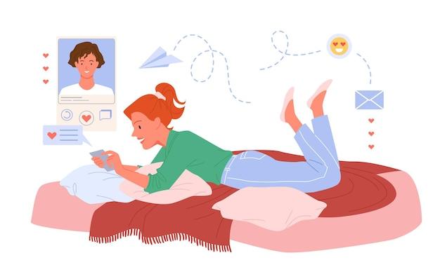 カップルの人々の仮想チャット、コミュニケーションロマンチックなオンラインベクトルイラスト。心を持って、家のソファに横たわって、浮気と愛を白で隔離の若い恋人の男にメッセージを送る漫画の女の子のキャラクター