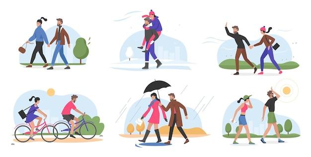 Пара людей гуляет на открытом воздухе в разную погоду, гуляя летом, зимой, весной, осенью