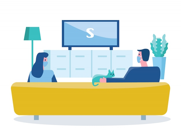 Couple people wearing masks and watching television. social distancing concept. flat design illustration