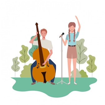 Couple of people with musicals instruments and landscape
