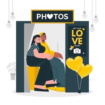 Coppia in un'illustrazione di concetto di cabina fotografica
