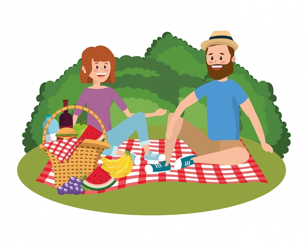 Couple and picnic cartoons