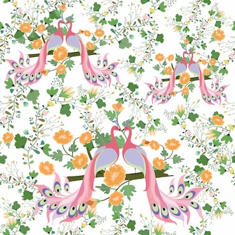 Couple pink peacock with floral seamless pattern.