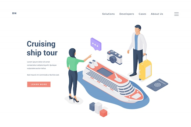 Couple planning cruising ship tour.   illustration