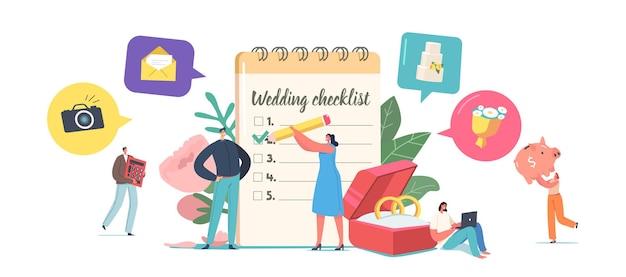 カップルが結婚式のコンセプトを計画し、結婚式の前にチェックリストを埋める巨大なプランナーで小さな男性と女性のキャラクター。愛、イベント組織、休日。漫画の人々のベクトル図