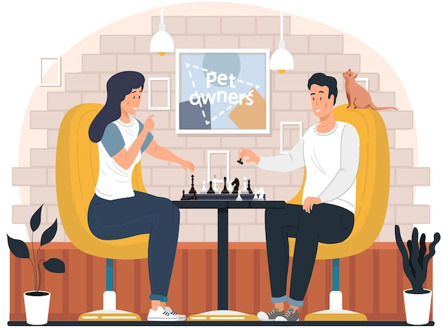 家でチェスをしているカップル