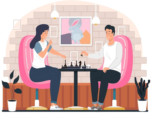 Couple playing chess at home sitting at the table cozy living room