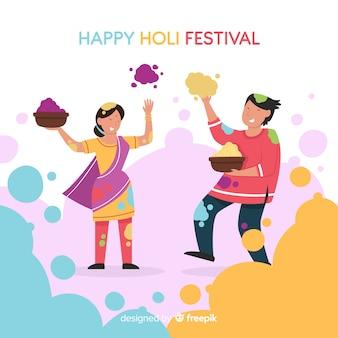 Couple playing holi festival background